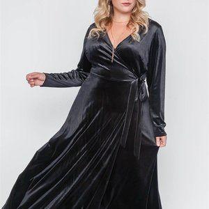 Dresses & Skirts - Plus Size Velvet Surplice Neck Maxi Dress